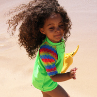 Kids Rash Vest - Fluro Lime/Rainbow Scales